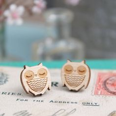 Wooden Owl Earrings £7.50