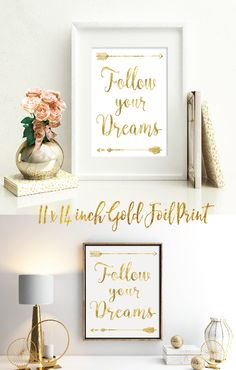 11x14 inch 'Follow Your Dreams' typographic art print printed in luxe gold foil on extra-heavy, pure white cardstock. On-trend and inspiring wall décor that complements most design styles including: Bohemian, Aztec, Eclectic, Rustic Glam & Contemporary design styles. Also works well in baby nursery or child's bedroom. Each arrow was hand-drawn and vectorized for gold foil printing method.  Free 2-day Shipping for Amazon Prime members. Gift wrapping available.