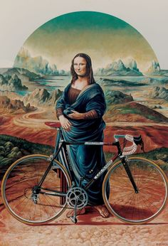 Mona Lisa, Colnago, that's what that smug look was for. She had a banging Colnago Cycling Art, Cycling Bikes, Mona Lisa, Bicicletas Raleigh, Bike Poster, Bicycle Art, Bike Style, Vintage Bicycles, Art Plastique