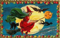 Vintage Witch on Broomstick with Black Cat Halloween Card