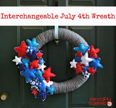 Interchangeable yarn-wrapped wreath - July 4th version