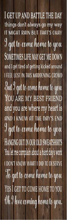 Home to You Lyrics John Montgomery Wood Sign, Canvas Wall Art, Banner - Wedding, Annviersary, Christmas, Birthday by HeartlandSigns on Etsy