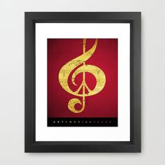 Red Gold Print Music and Peace Sheet Music Artist by Inspireuart, $32.00