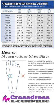 Crossdress Boutique - Crossdresser Shoe Size Chart Conversion MTF | http://www.crossdressboutique.com/tgirl/shoes-boots-hosiery/
