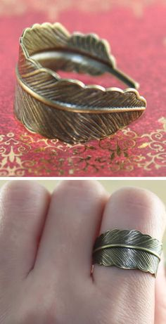 Adjustable Feather Ring ♥