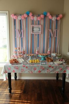 Lacey's Baby Shower, pink and blue baby shower with brunch food.