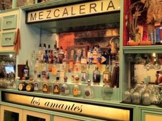 """The unique flavor of mezcal, a smoked agave spirit considered """"the mother of tequila,"""" is something every drinking enthusiast should try. Here are some NYC bars ready to make your introduction. Mezcal Margarita, Mezcal Cocktails, Mexican Bar, Mexican Style, Restaurant Design, Restaurant Bar, Bar Mexicano, Library Bar, Container Bar"""