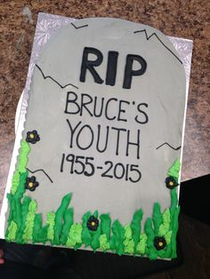 A funny tombstone cake for those with a good sense of humor.