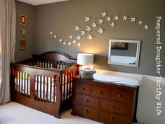 Awesome Espresso Convertible Crib And Dresser As Well As White Flower Wall Decor In Gray Boy Nursery Ideas