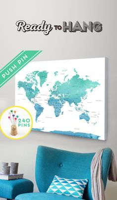 Push Pin Travel Map Canvas World Map Ready to Hang - Canvas Wrap - Choose Size. World Map + Countries and their Capitals + USA and CANADA STATES and Capital States.  Track your travels with the push pins and planning your next adventures!  Its the perfect gift for Anniversary, Birthday, Wedding, Housewarming,...and for children to have fun learning geography.  The CANVAS is hand stretched, ready to Hang and Pin it!   The item is composed of:  ➜ Cotton Canvas  ➜ Foam Board  ➜ Wood Frame  ➜…