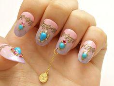Party nail holiday nail art nail dangling belly dance by Aya1gou