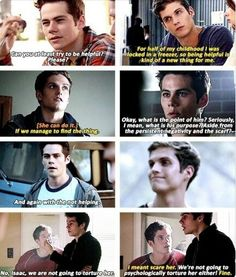 Stiles to Isaak: Can you at least try to be helpful? Teen Wolf Isaac, Stiles Teen Wolf, Teen Wolf Boys, Teen Wolf Dylan, Teen Wolf Cast, Teen Wolf Memes, Teen Wolf Quotes, Teen Wolf Funny, Dylan O'brien