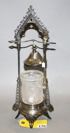 Sold For $475 in 2012   FROSTED CLEAR MECHANICAL PICKLE CASTOR (REED & BARTON)