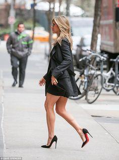 Jennifer Aniston gorgeous street style legs in high heels