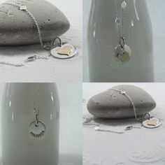 On the one side a gold filled heart and on the other side a hand stamped name on this sterling silver pendant.  www.metalfeather.com
