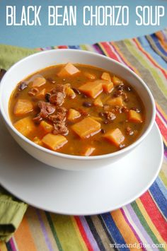 Black Bean Chorizo Soup | Delicious black bean chorizo soup made even more hearty and filling with sweet potatoes.  The perfect soup for fall and winter!