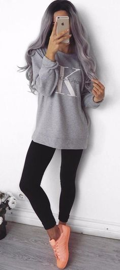 #winter #outfits gray Calvin Klein sweatshirt