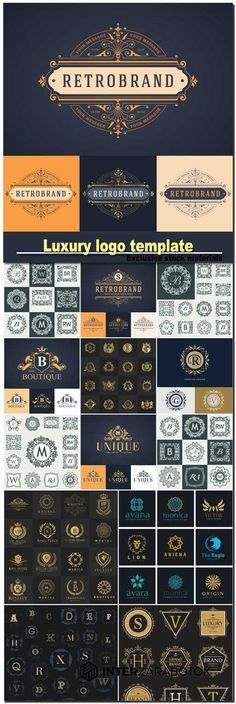 illustration of luxury logo template, monogram template, calligraphic elegant…