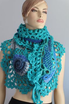 Blue Turquoise Freeform Crochet  Scarf Shawl / Wearable Art / OOAK