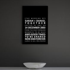 """Personalised canvas - """"Wedding Keepsake"""" Create your own canvas. www.quintdesignstore.com"""