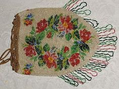 Antique-Floral-Crochet-Micro-Beaded-Purse-with-Flowers-tiny-Steel-cut-Purse