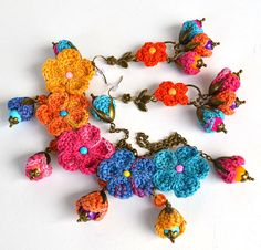 quirky rainbow setbold necklacecrochet jewelry by Marmotescu