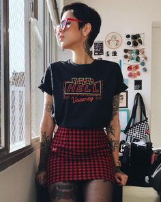 Outfit, checkered, skirt, tights, glasses, short hair, pixie cut, red, black, graphic tee, rolled sleeves, tattoos, alternative, punk, grunge