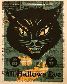 Hallows Eve Cat - Canvas Wall Art by Methane Studios. 24x30, $159. Available framed in deep pewter or warm white!