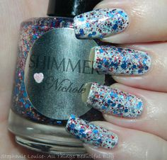 Shimmer Polish Nichole Swatches & Review (My 4th of July Manicure!) Red, White, & Blue + a Touch of Holo