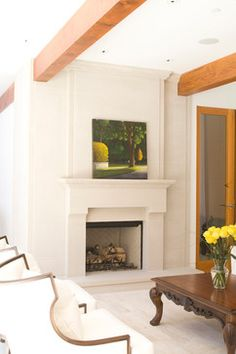 cast stone fireplace with decorative overmantel