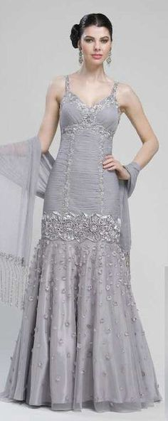 Sue Wong DropWaist Embellished 3D Ball Gown