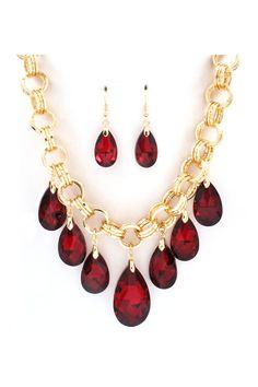 Dakota Necklace Set in Ruby Crystal