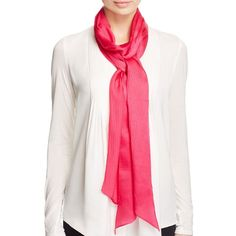 Echo Solid Long & Skinny Silk Scarf ($48) ❤ liked on Polyvore featuring accessories, scarves, pink raspberry, pink shawl, oblong silk scarves, long scarves, echo scarves and pink silk scarves