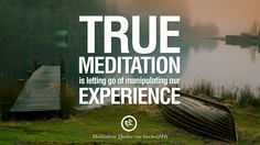 True meditation is letting go of manipulating our experience. 36 Quotes on Mindfulness Meditation For Yoga, Sleeping, and Healing