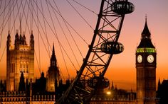 Beautiful London ~ Big Ben, Tower Bridge and the London Eye at sunset!