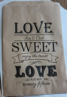 Wedding Favor Bags Candy Buffet-Personalized Treat by RootedManor