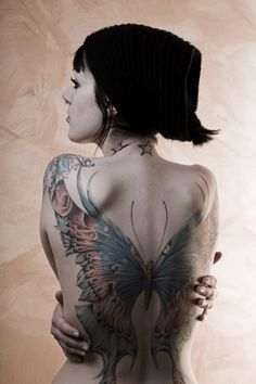 wow full back butterfly tattoo