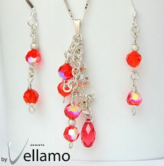 Earrings and cluster pendant with hyacinth, pink sparkly Swarovski crystals by byVellamo, $55.00