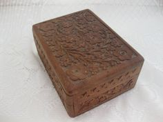 Vintage Carved Box Hinged Wooden Box Felt by MyLittleSomethings, $18.00