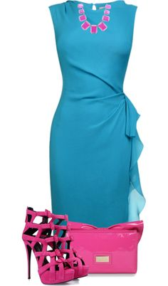 A fashion look from January 2013 featuring sleeveless dress, high heel shoes y pink handbags. Browse and shop related looks. Classy Outfits, Chic Outfits, Pretty Outfits, Beautiful Outfits, Fashion Outfits, Womens Fashion, Fashion Trends, Trendy Dresses, Blue Dresses