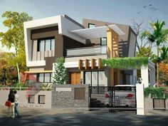 24 Ideas House Ideas Exterior Brick Landscaping For 2019 Bungalow Haus Design, Duplex House Design, House Front Design, Modern House Design, Villa Design, Gate Design, Style At Home, 3d Home, House Landscape