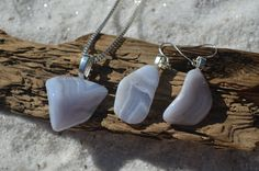 Blue Lace Agate Stone Sterling Silver Earrings and Necklace Set