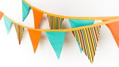 Beach Banner, Surfing Birthday Party Flags, Baby Shower and Nursery Bunting Decoration, Teal Orange Photo Prop