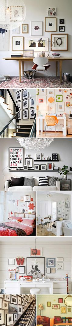 I'm digging the 3rd picture down. Was planning on doing 1 long shelf, but perhaps 2 differently sized shelves over the sofa would be titser:)
