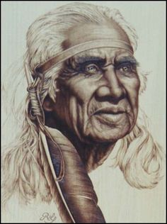 Image detail for -Pyrography by Rodger Letkeman, E-Museum Chief Dan George