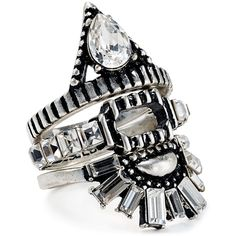 Baublebar Babylon Rings, Set of 3 ($29) ❤ liked on Polyvore featuring jewelry, rings, accessories, jewels, silver, silver rings, silver stackable rings, punk rings, punk rock jewelry and silver jewellery