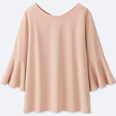 WOMEN CREPE JERSEY 3/4 FLARE SLEEVE T-SHIRT, PINK