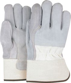 Majestic 1830 Split Cowhide Leather Work Gloves 3/4 Back Double Palm Kevlar Sewn (DZ)