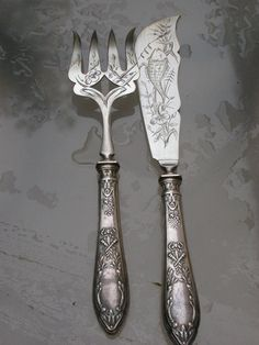 French antique sterling sterling silver fork Carving Knife fish fork service Engraved paris flower rose leaf ornate sterling Signed on Etsy, $89.00