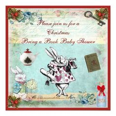 Bring a Book Alice in Wonderland Xmas Baby Shower Custom Announcements